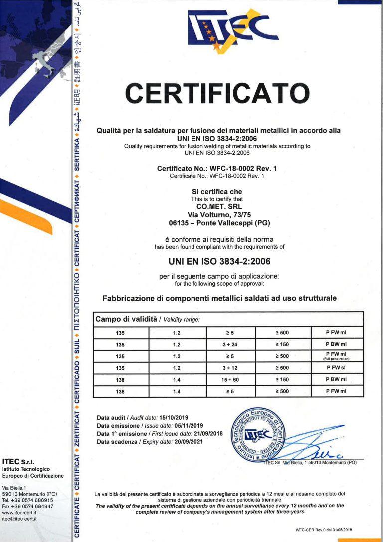 Certificato 3834